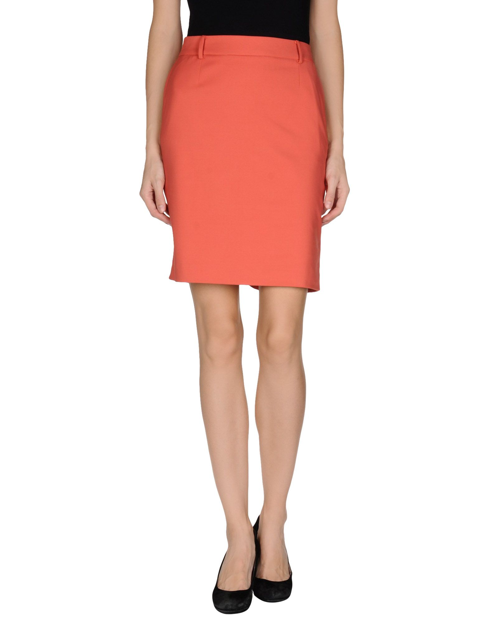 patrizia pepe knee length skirt in pink coral lyst
