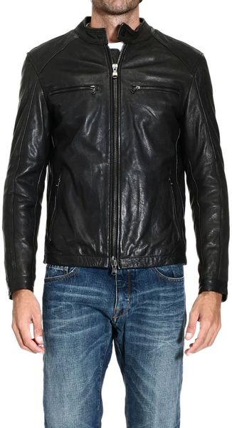 Pirelli Down Jacket Leather Jacket - Lyst