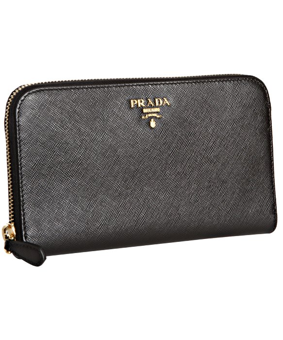 Prada Black Saffiano Leather Zip Continental Wallet in Black | Lyst