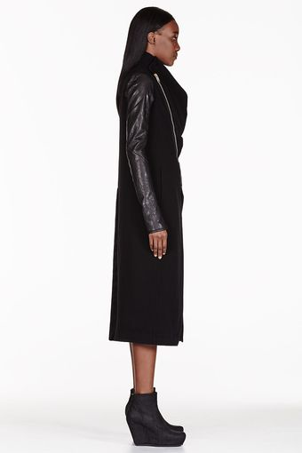 Rick Owens Black Cowl Neck Coat - Lyst