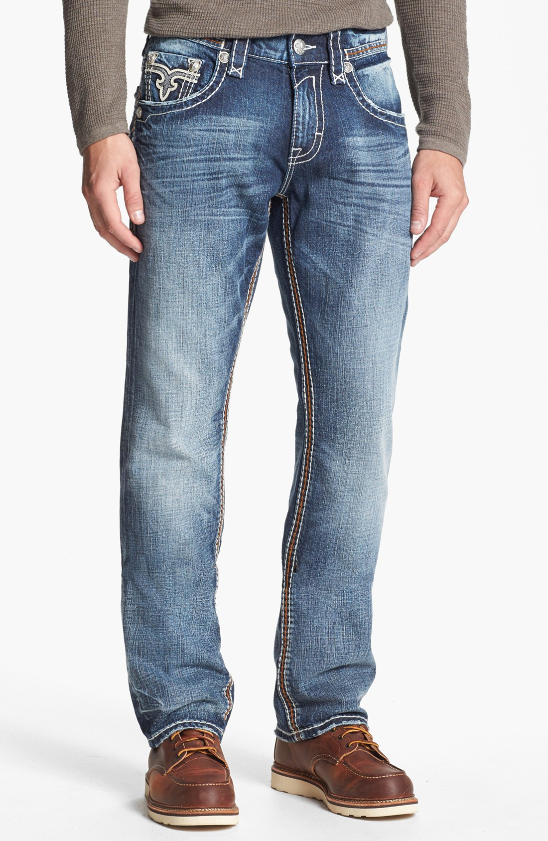 Rock Revival Rain J Straight Leg Jeans In Blue For Men (Medium Blue) | Lyst