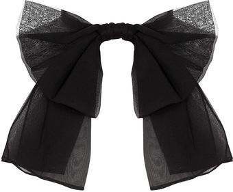 Saint Laurent Black Silk Chiffon Bow - Lyst