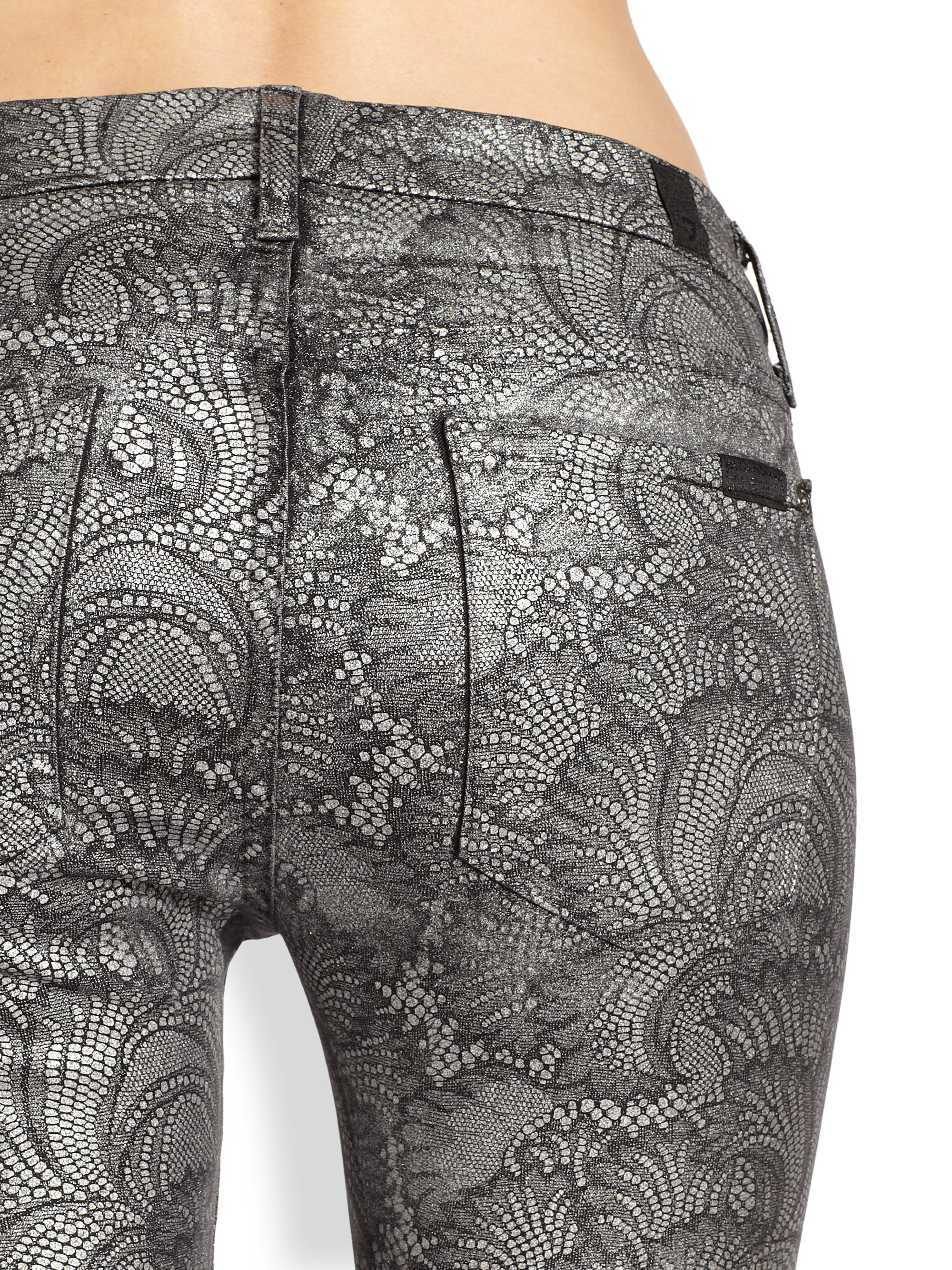 7 for all mankind The Skinny Contour Waistband Metallic Patterned ...