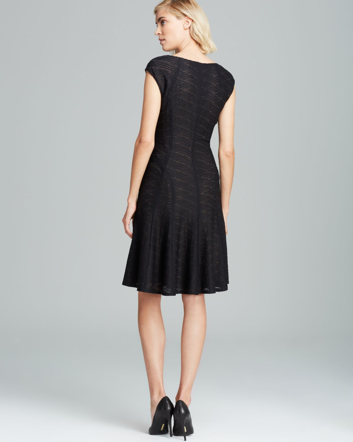 Lyst Anne Klein V Neck Textured Knit Fit And Flare Dress