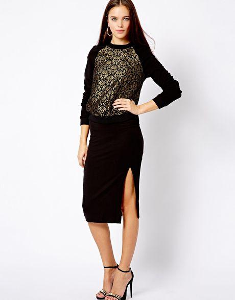 asos new look split pencil skirt in black lyst