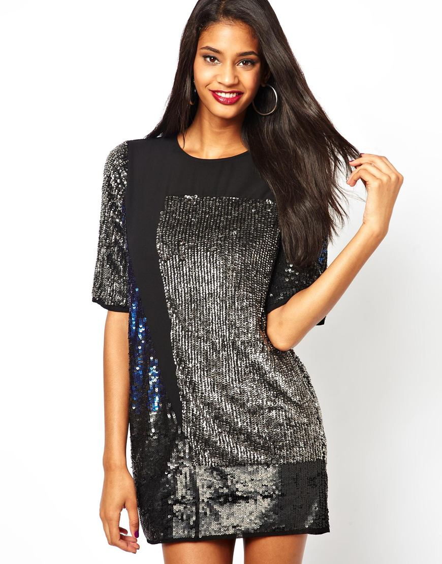 Lyst asos river island sequin blocked tshirt dress in black for Sequin t shirt changing