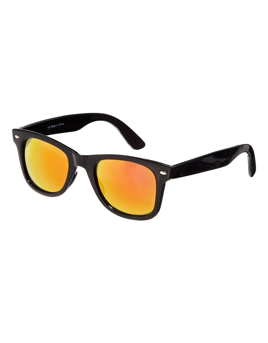 31619a1cc74 Lyst - ASOS Wayfarer Sunglasses with Orange Mirror Lens in Black