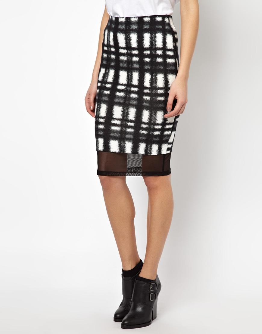 asos check pencil skirt with mesh hem in black blackwhite