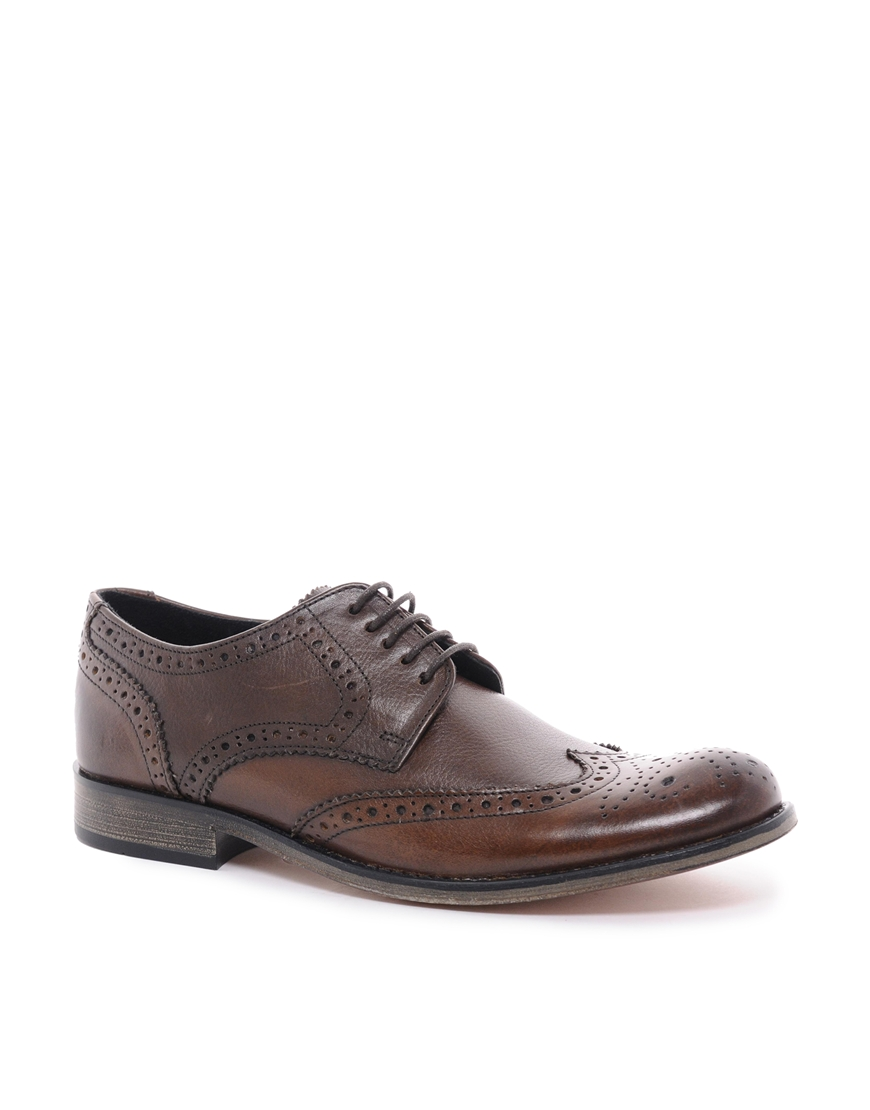 asos brogue shoes in leather in brown for lyst