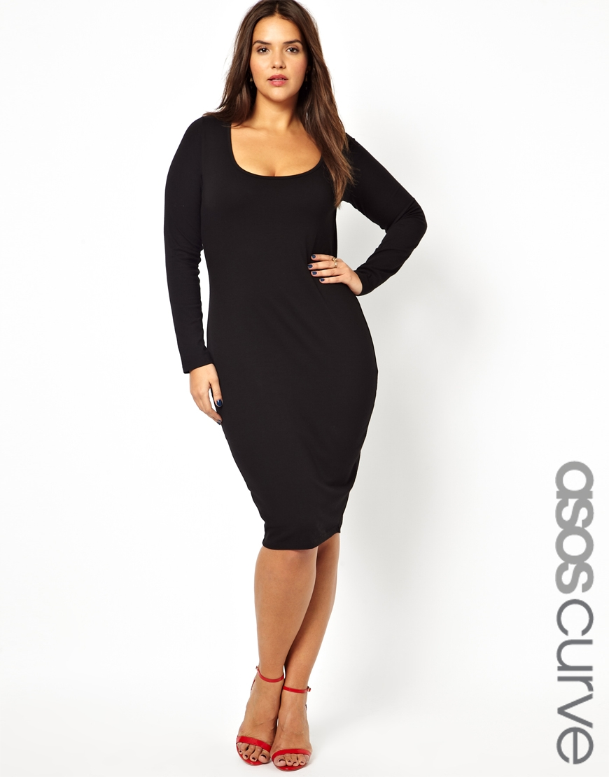Asos Midi Bodycon Dress with Long Sleeve in Black | Lyst