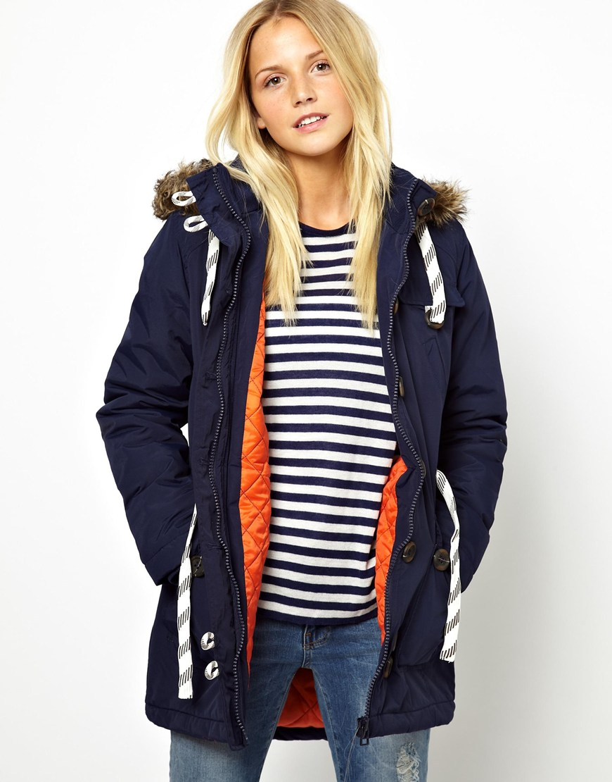 Bellfield Parka Jacket with Faux Fur Trim Hood in Blue | Lyst