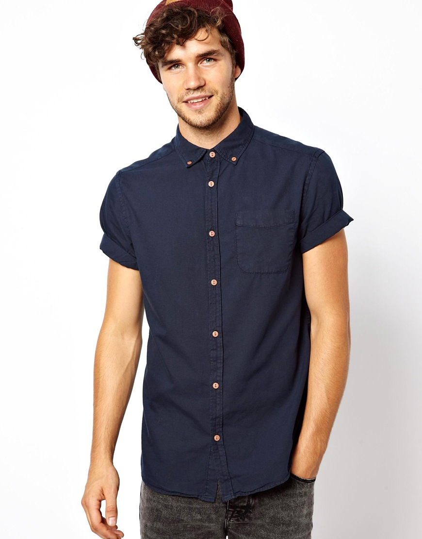 Lyst asos river island short sleeve oxford shirt in blue for Mens short sleeve oxford shirt