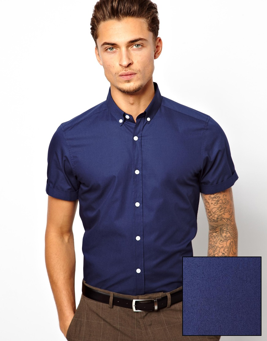 Lyst - Asos Smart Shirt in Short Sleeve with Button Down Collar in ...