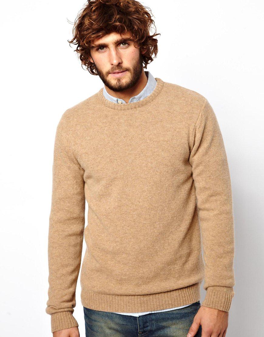 Asos Lambswool Sweater in Natural for Men | Lyst