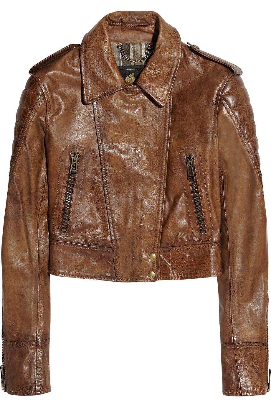 d8f565df9a31 Belstaff Seaton Cropped Leather Biker Jacket in Brown - Lyst
