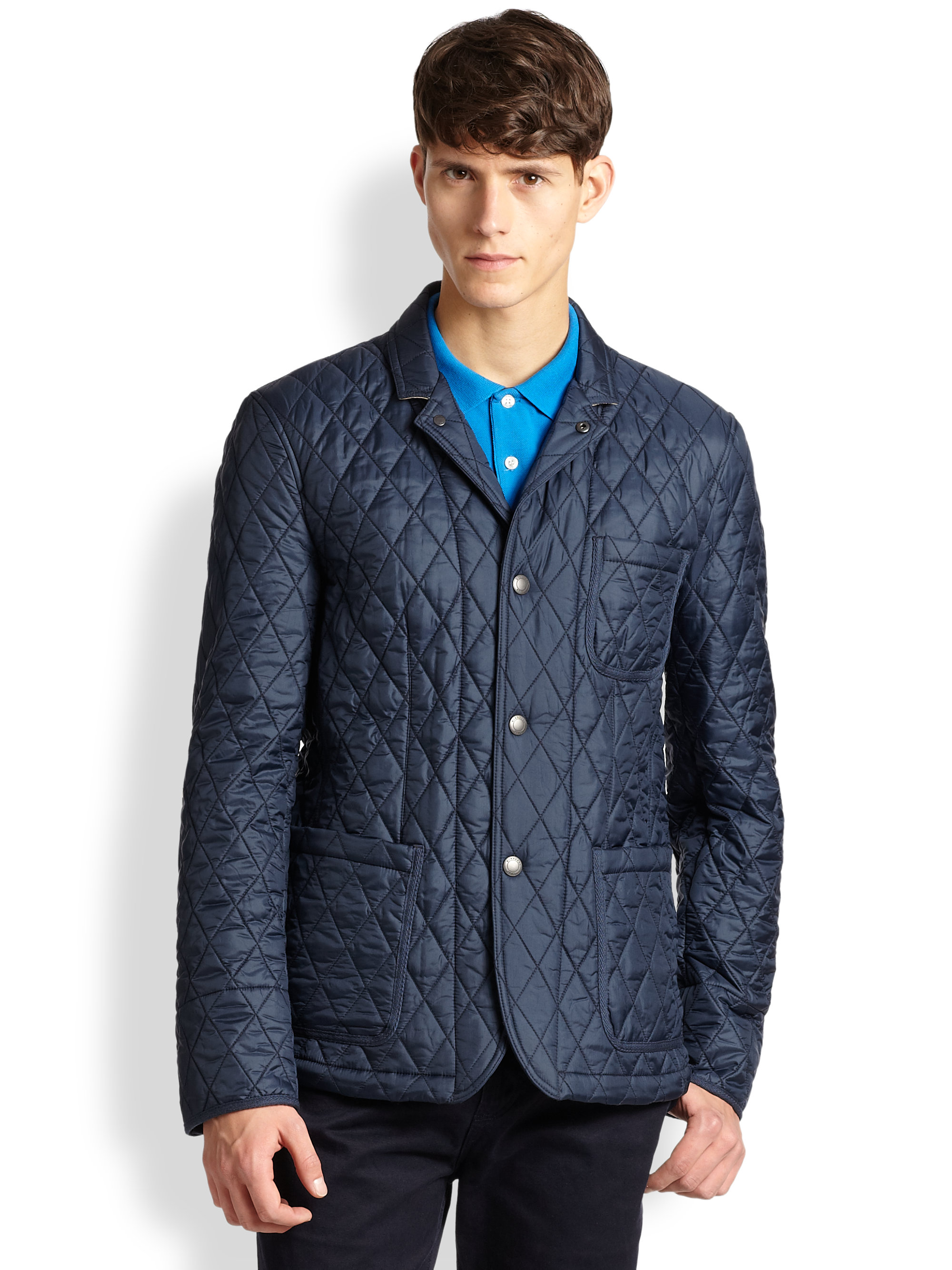Lyst Burberry Brit Howe Quilted Sports Jacket In Blue