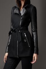 Burberry Short Leather Detail Cotton Biker Trench Coat - Lyst