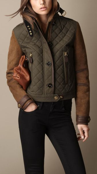 Burberry Waxed Cotton Jacket with Shearling Sleeves - Lyst