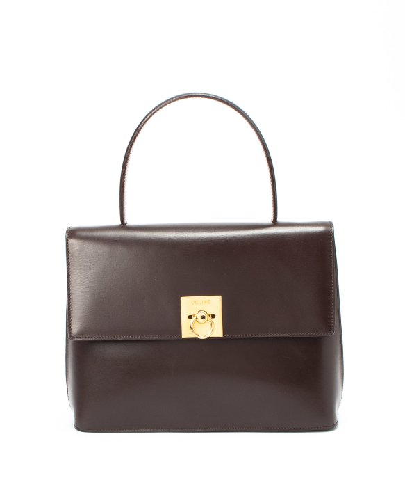 celine pink nano - C��line Dark Brown Leather Top Handle Bag in Brown | Lyst