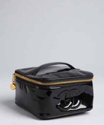 Chanel Black Patent Leather Vintage Beauty Case - Lyst