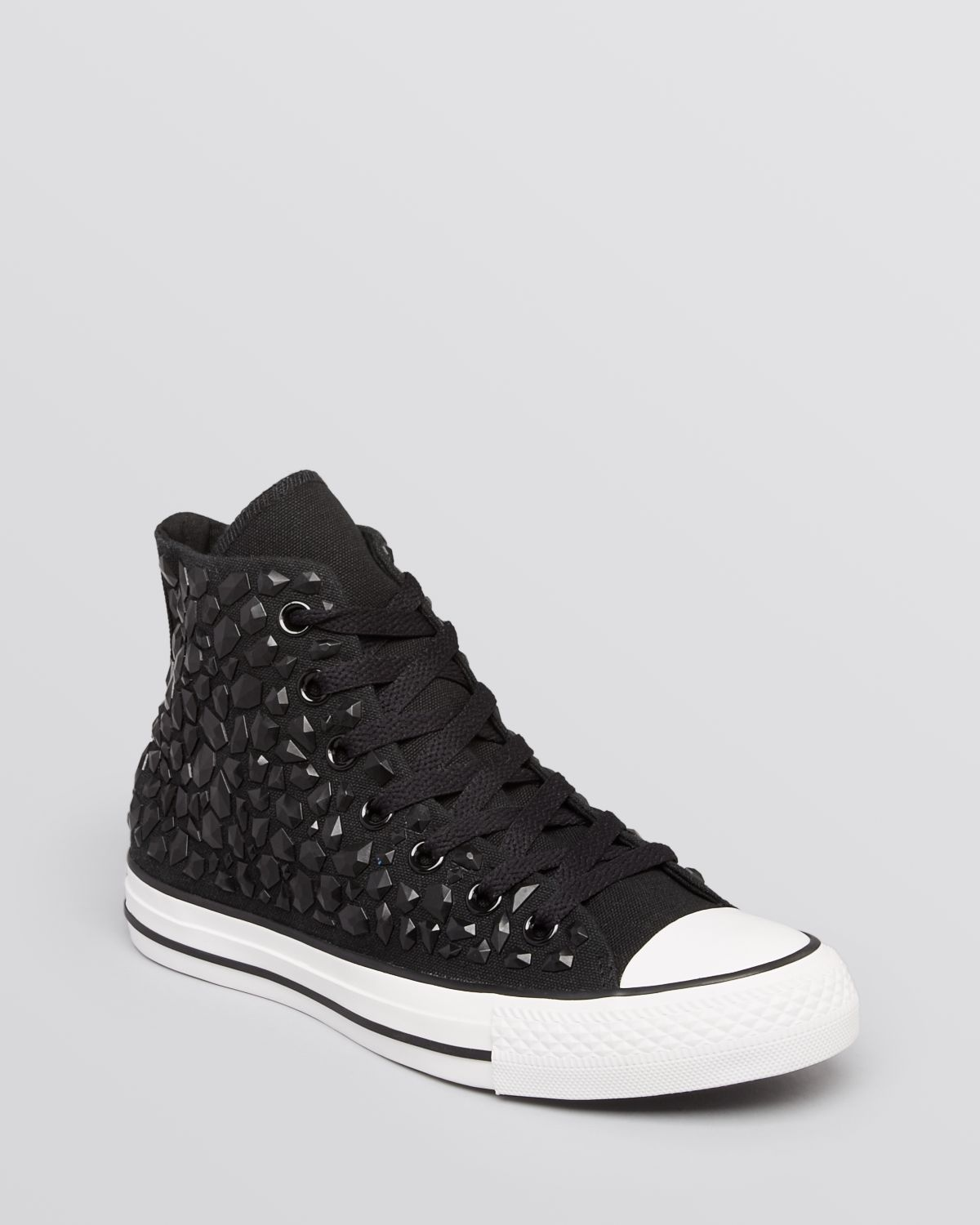 3f4c462308c6 Lyst - Converse Lace Up High Top Sneakers All Star Rhinestone in Black