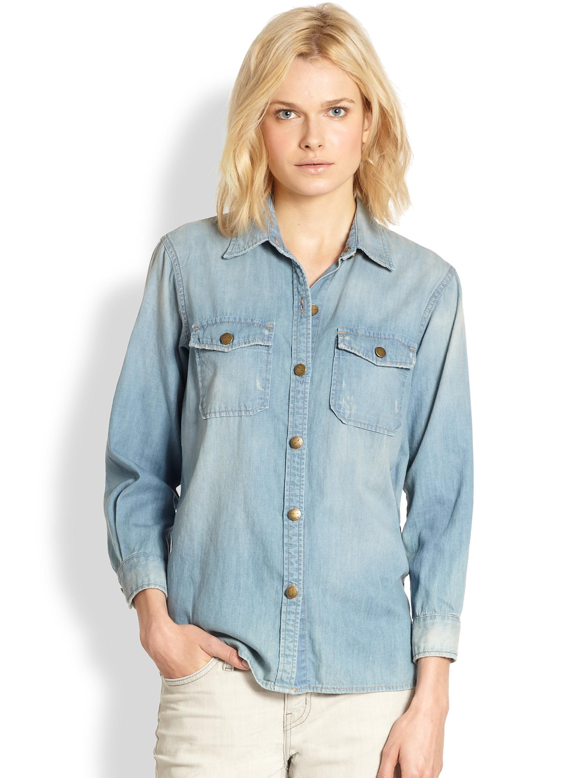758d79dac0 Lyst - Current Elliott The Perfect Denim Shirt in Blue