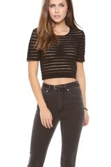 Cynthia Rowley Short Sleeve Crop Top - Lyst