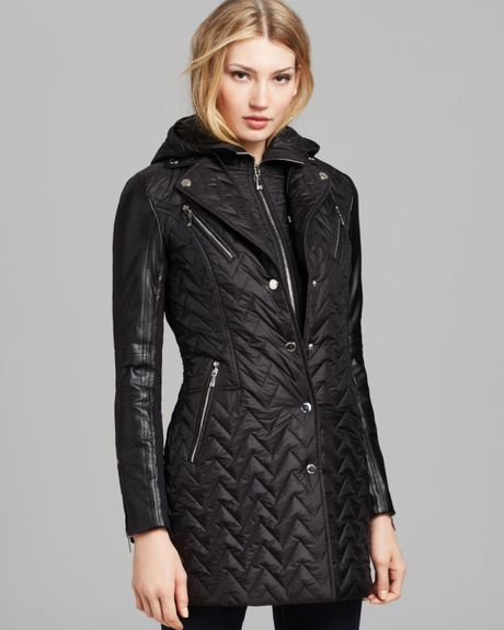 Dawn Levy Sly Quilted Coat With Leather Sleeves In Black