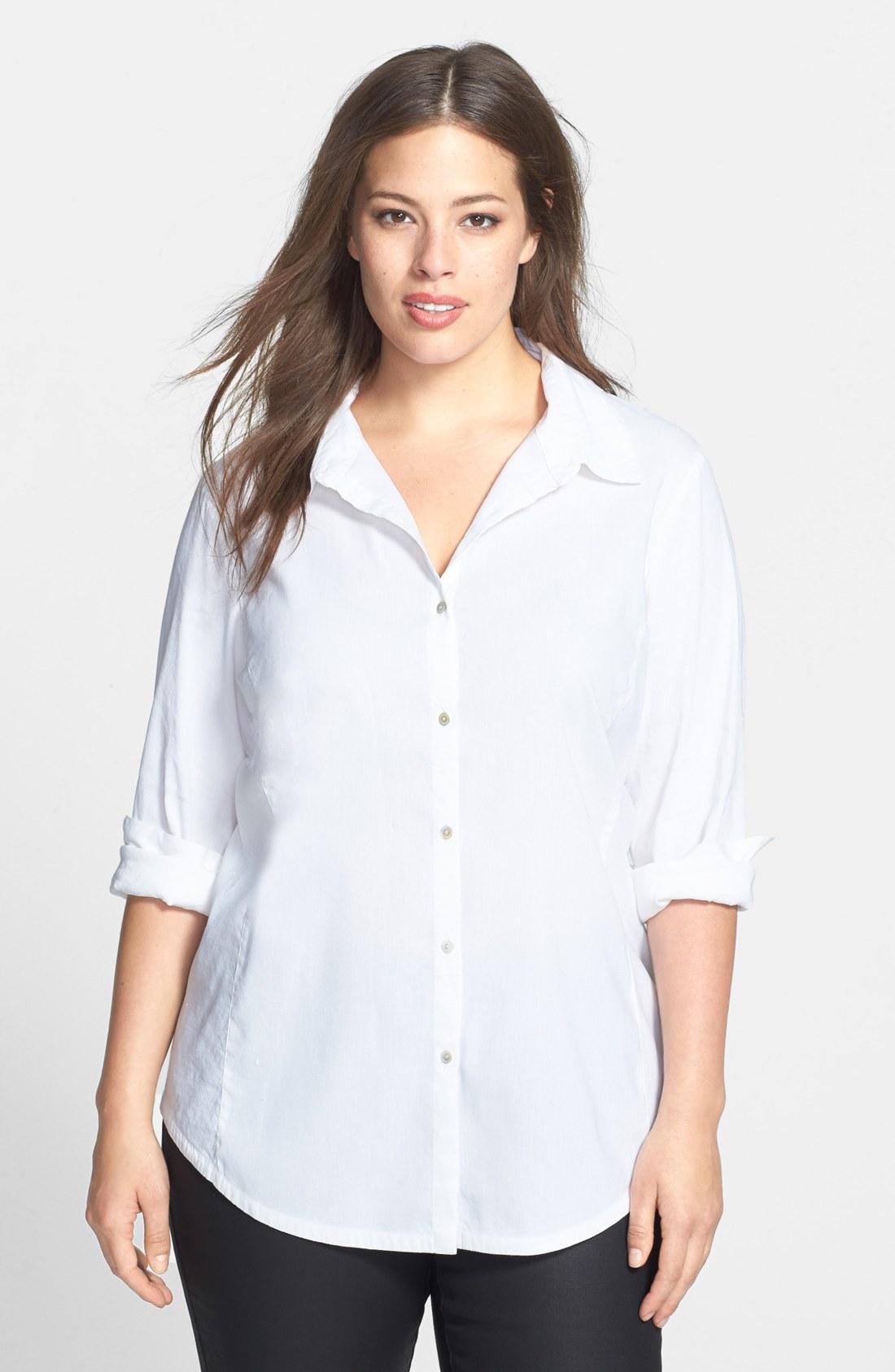 eileen fisher classic collar linen blend shirt in white lyst