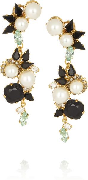 Erdem Vickisarge Goldplated Swarovski Pearl and Crystal Clip Earrings - Lyst