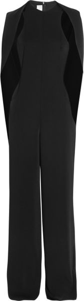 Esteban Cortazar Cape-Back Cady and Stretch Crepe Jumpsuit in Black