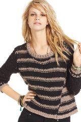 Free People Long Sleeve Chunky Knit Striped Sweater - Lyst
