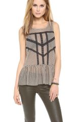 Free People Lace Stripe Peplum Top - Lyst