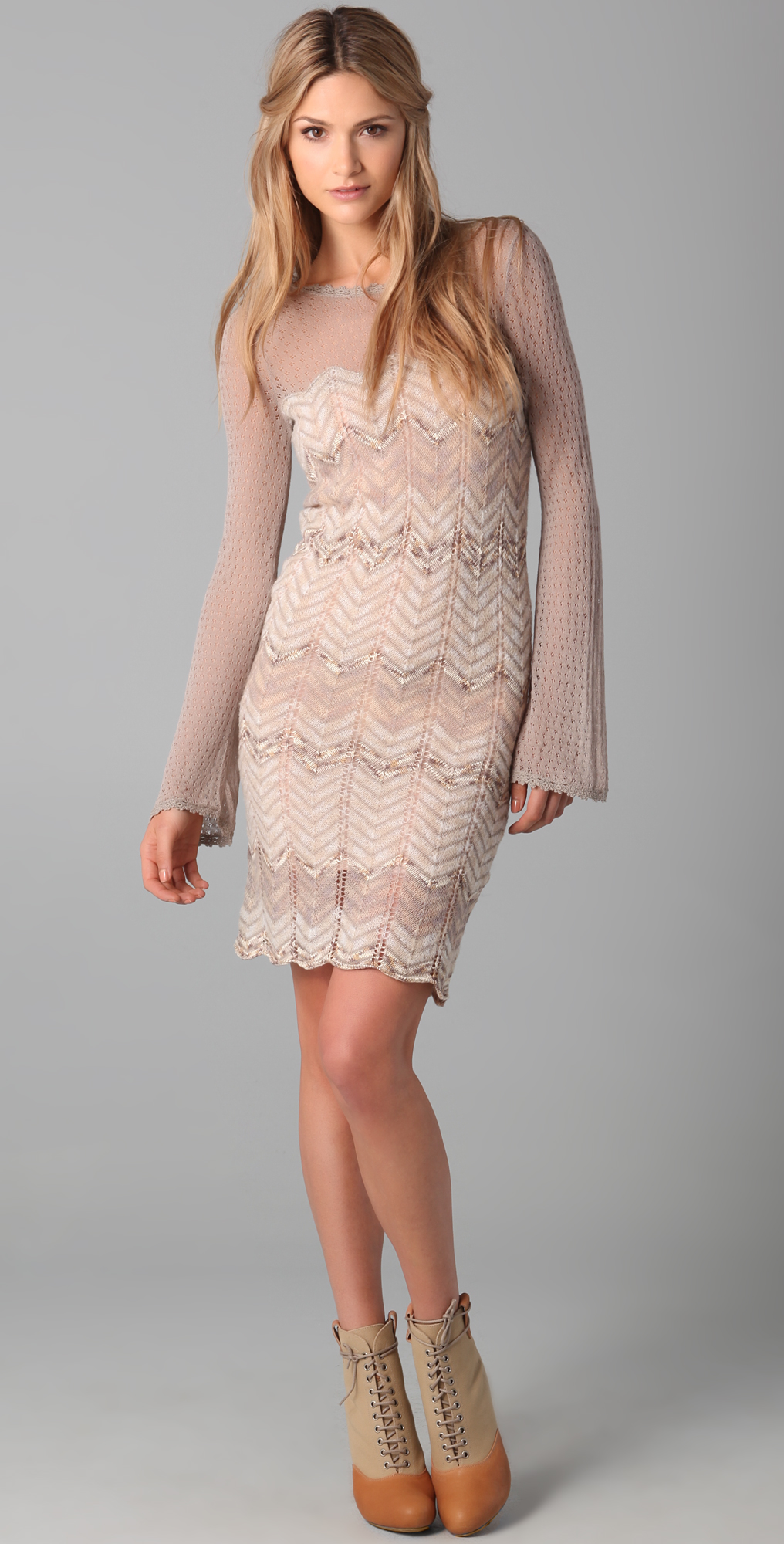 666ee314dab75 Lyst - Free People Chevron Sweater Dress in Natural