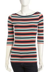 French Connection Striped Half Sleeve Tee  - Lyst