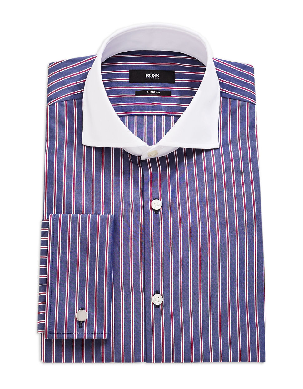 Hugo boss striped dress shirt in purple for men pink lyst for Hugo boss formal shirts