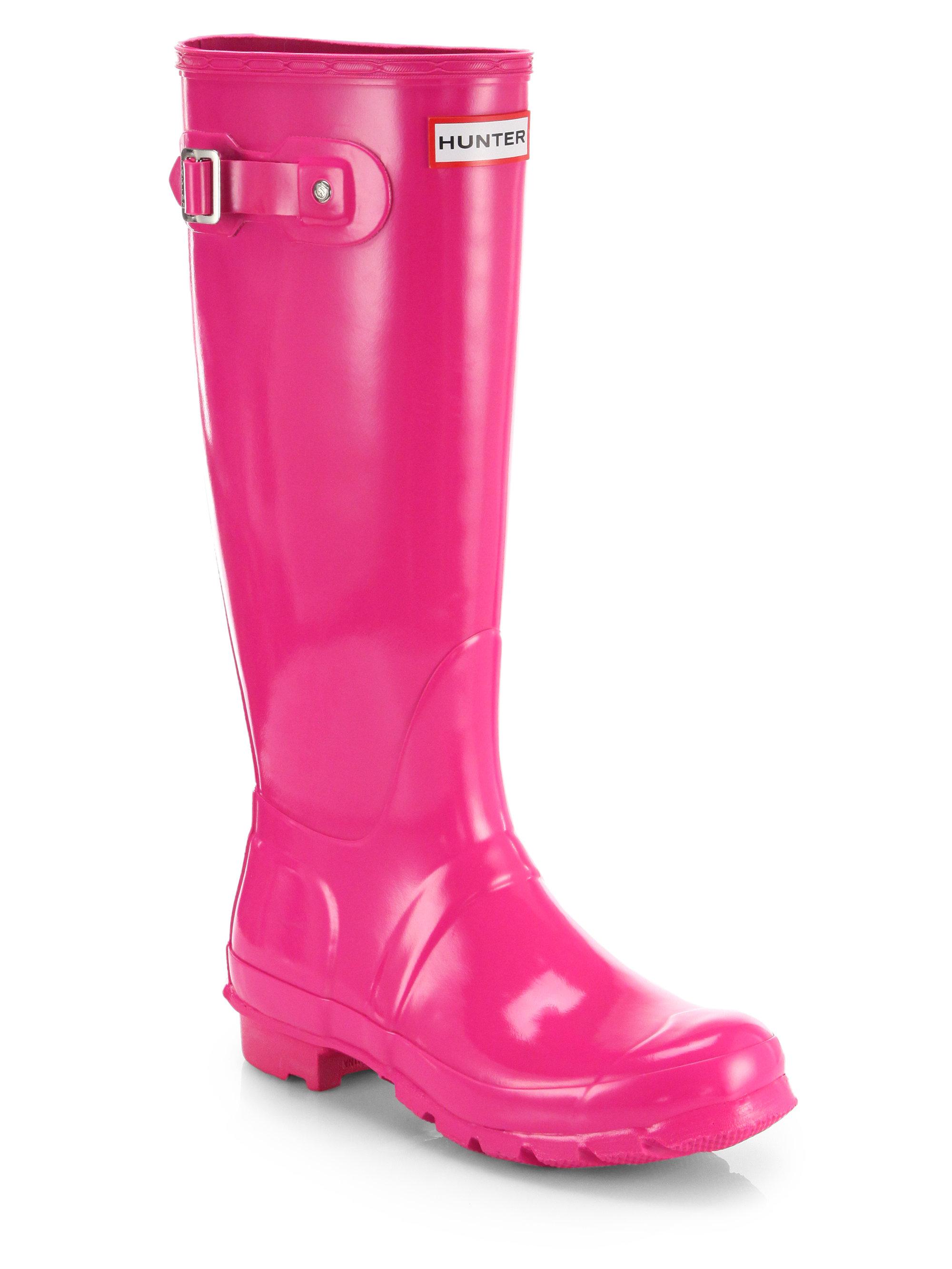 hunter gloss finish original rain boots in pink lyst. Black Bedroom Furniture Sets. Home Design Ideas