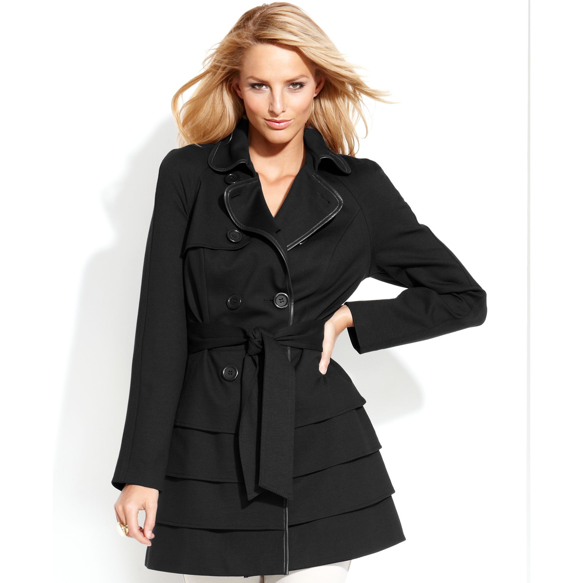 Inc International Concepts Double Breasted Tiered Trench