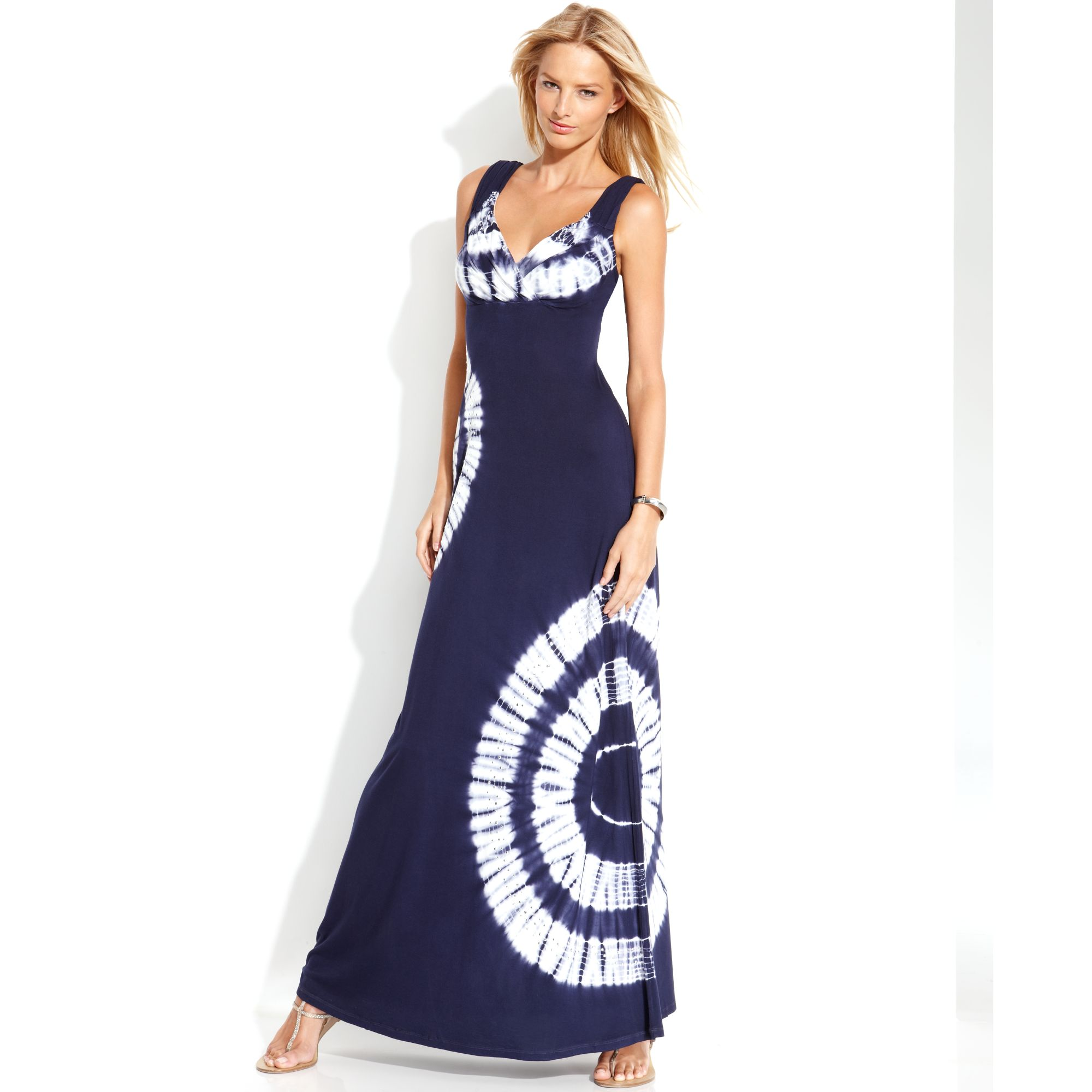 INC International Concepts | Blue Petite Sleeveless Tie-dye Maxi Dress ...