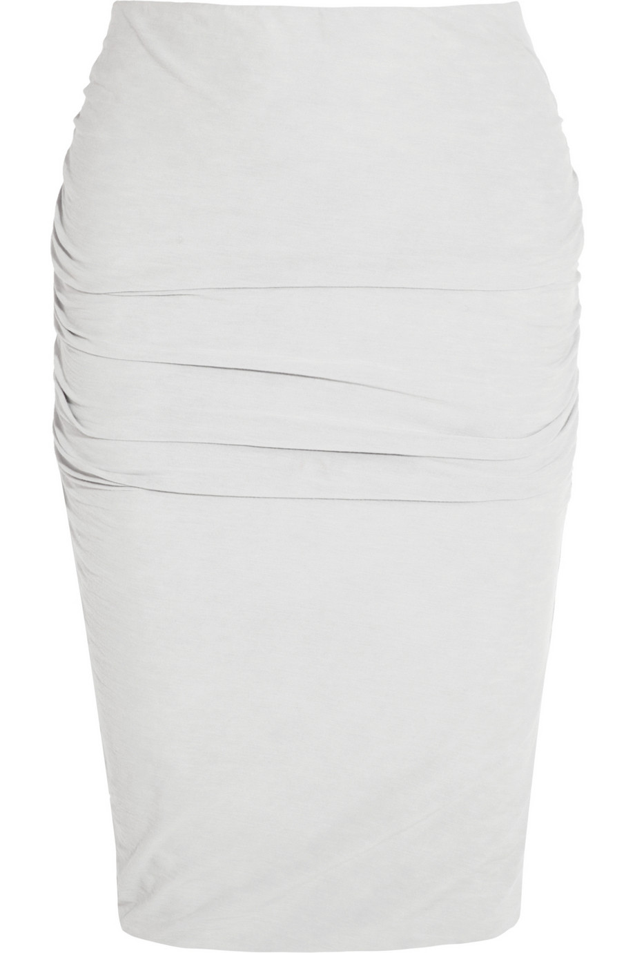 James perse Ruched Jersey Pencil Skirt in Gray | Lyst