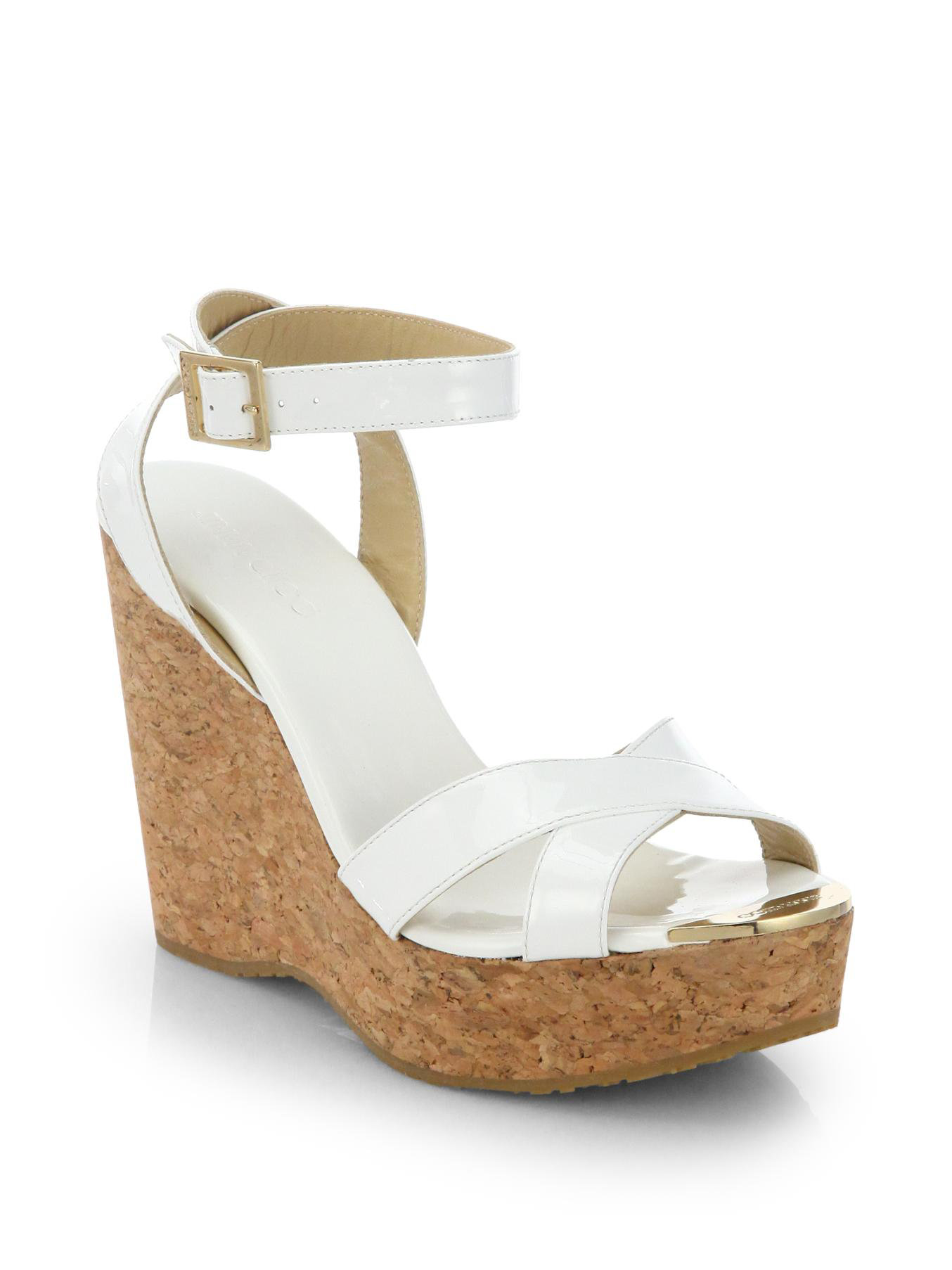 19448c689e7a ... greece lyst jimmy choo papyrus patent leather and cork wedge sandals in  white ceb5f 85884