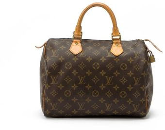 Louis Vuitton Brown Monogram Canvas Speedy 30 Bag - Lyst