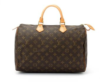 Louis Vuitton  Brown Monogram Canvas Speedy 35 Bag - Lyst