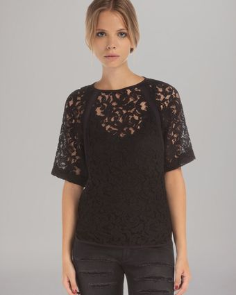 Maje Short Sleeve Lace Top - Lyst