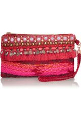 Matthew Williamson Swarovski Crystal Embellished Suede Wristlet Clutch - Lyst