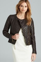 Michael by Michael Kors Quilted Leather Combo Zip Jacket - Lyst