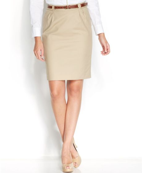 michael kors belted hardware pencil skirt in khaki lyst