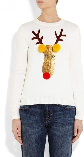 Moschino Reindeer Appliquéd Knitted Wool Sweater in White