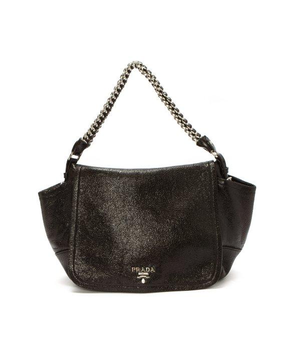 Prada Preowned Dark Brown Deerskin Cervo Lux Chain Shoulder Bag in ...