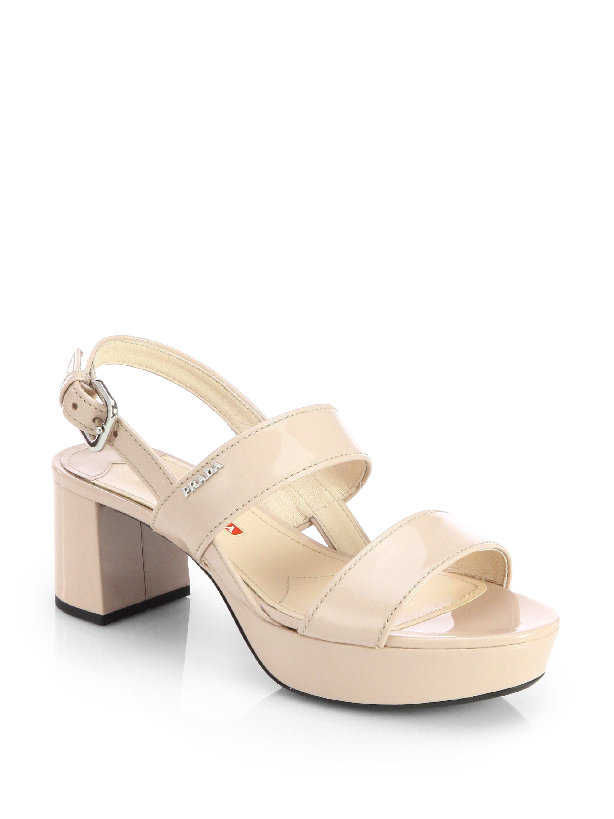 7ecf14ffa48 Lyst - Prada Patent Leather Block-Heel Sandals in Natural